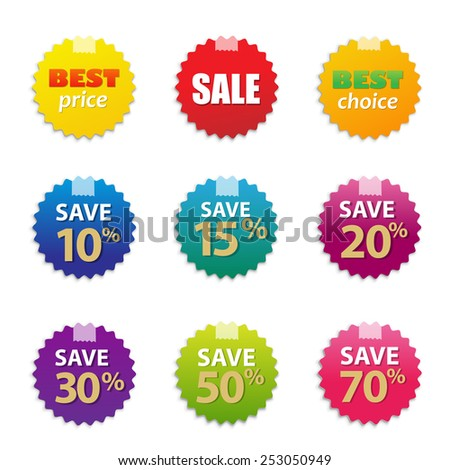 colorful sale tags set with
