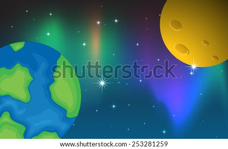illustration of two planets and