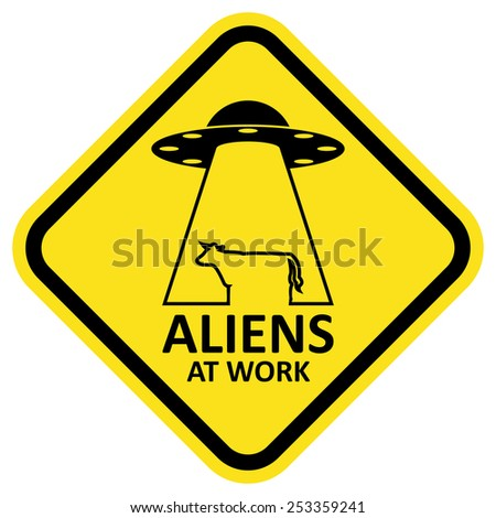 vector sign aliens at work