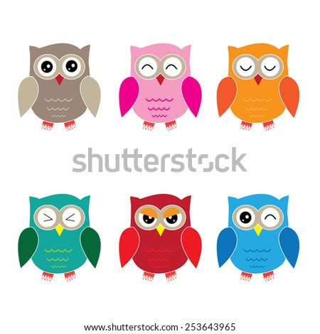 set of six cartoon owls with