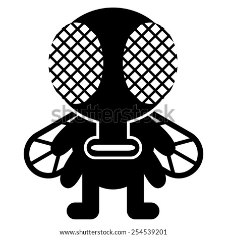 vector cartoon funny fly icon