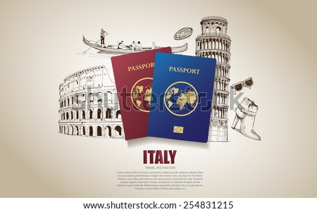 italy travel poster hand drawn
