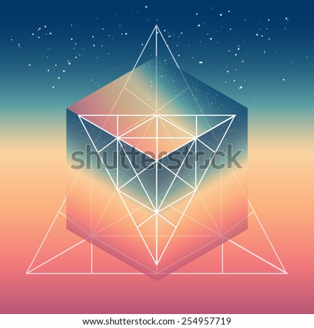 abstract isometric cube with