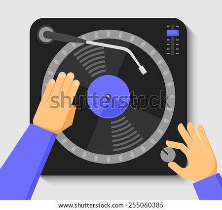 turntable and dj hands music