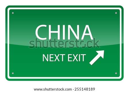 green road sign  vector   china