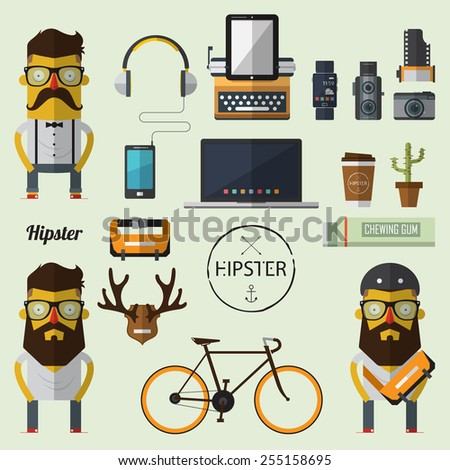 hipster character with set of