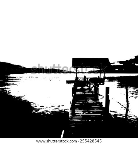 landscape of wooden bridge pier