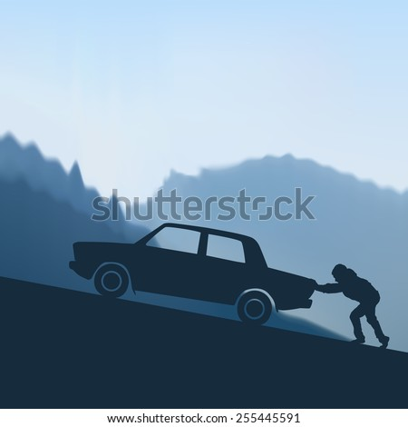 man pushes the car to the
