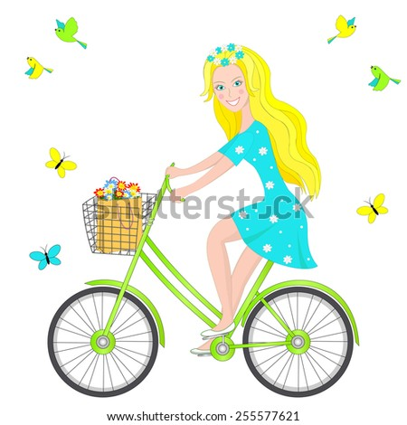 blonde girl on a bicycle  birds