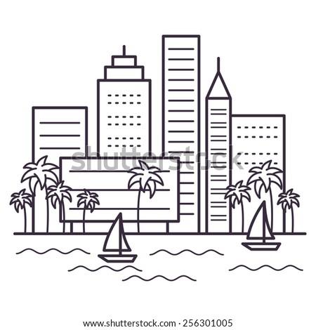 city landscape line vector