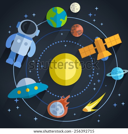 astronomical flat illustration