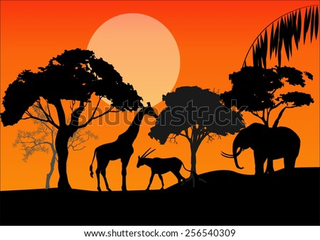 silhouettes of african animals