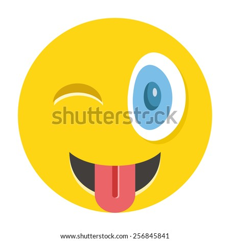 happy winking emoticon with