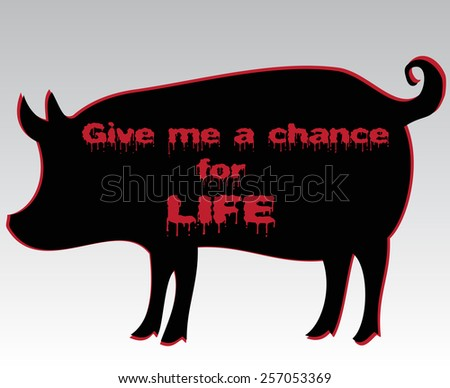 silhouette of pig with