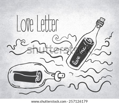 love letter  bottle jar with
