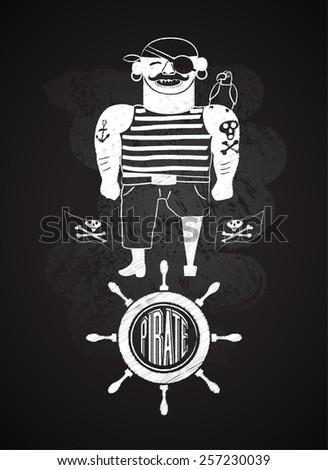 cartoon pirate design on