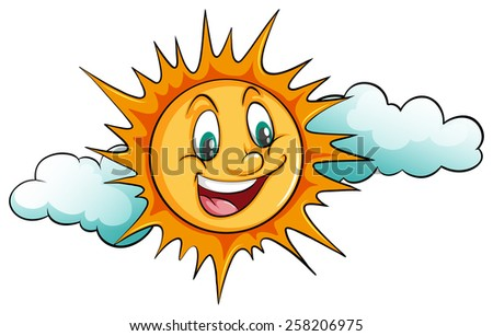 smiling sun in the sky on a
