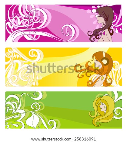 bright banners with floral