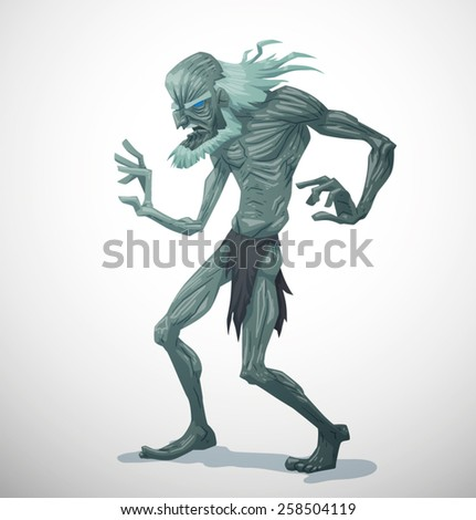 white old zombie  vector