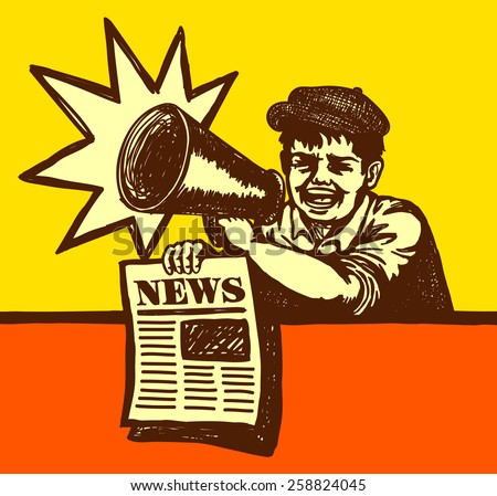 vintage newspaper boy shouting