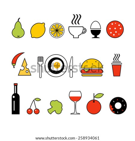 vector line color food icons