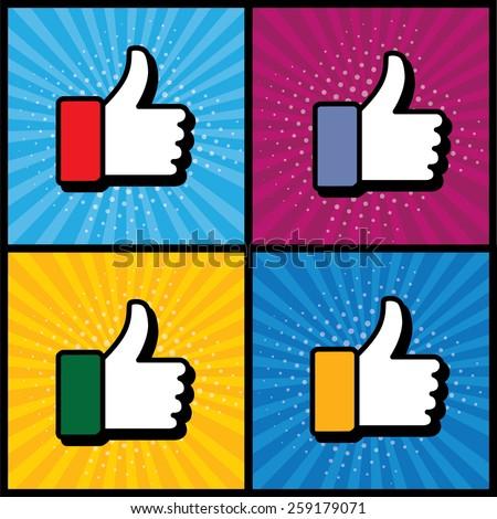 pop art thumbs up   like hand