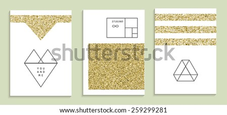 set of trendy invitations with