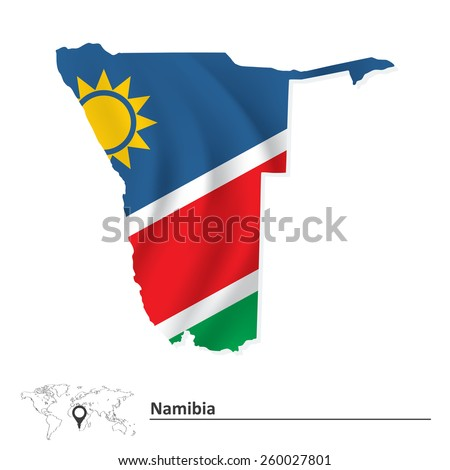 map of namibia with flag