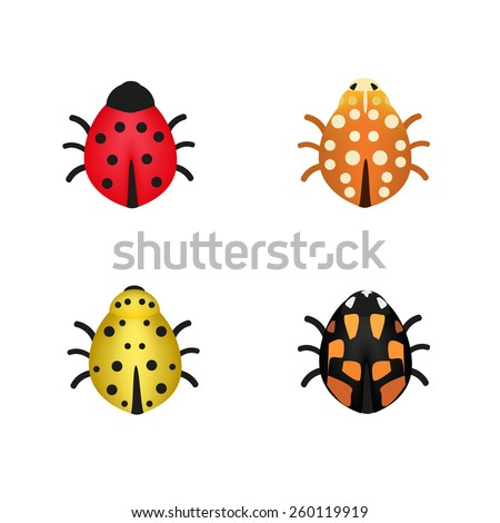 set of four ladybugs in
