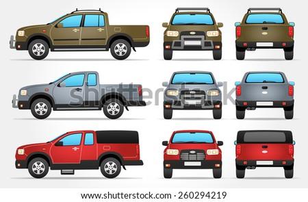 vector pickup truck   side