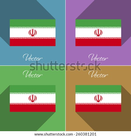flags of iran set of colors