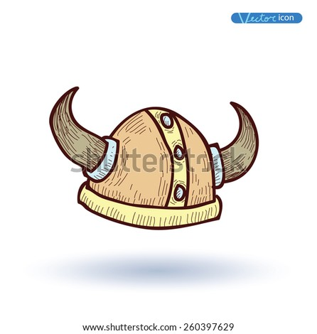 viking helmet  hand drawn
