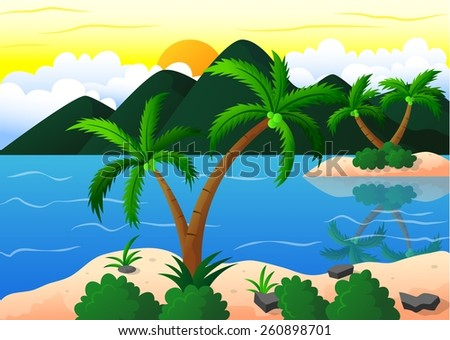 exotic beach and coconut island