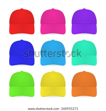 nine colorful caps isolated on