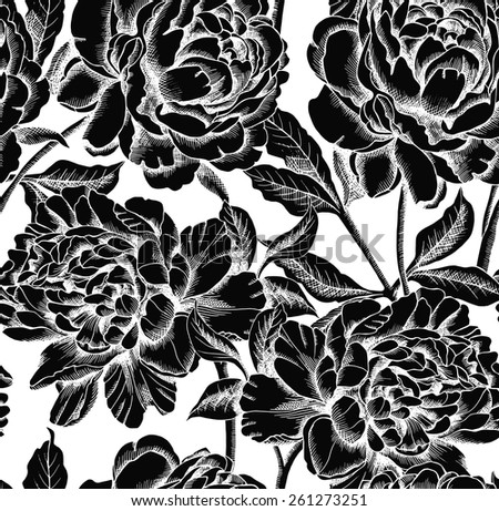 seamless pattern peony flower