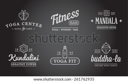 set of vector yoga zen sport