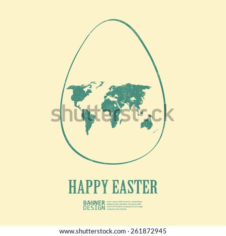green egg with world map symbol