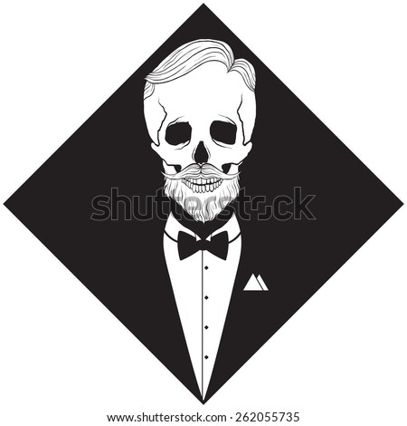 hipster skeleton silhouette in