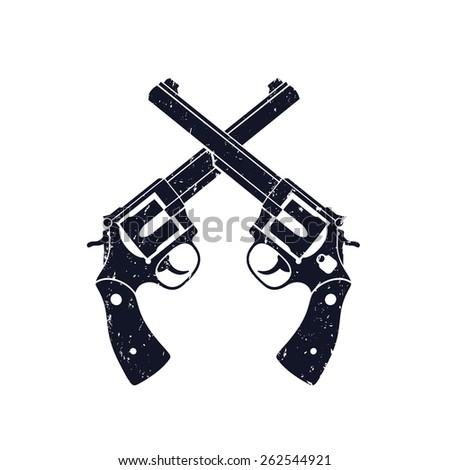 crossed revolvers grunge sign