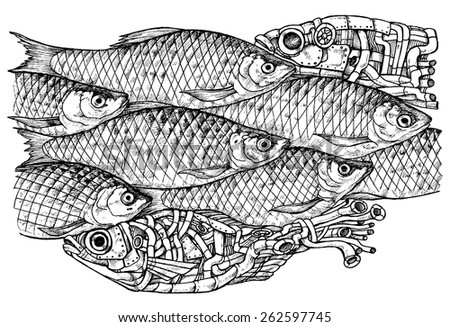 shoal of fish steam punk and