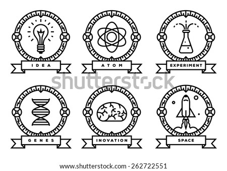 set of science icons  linear