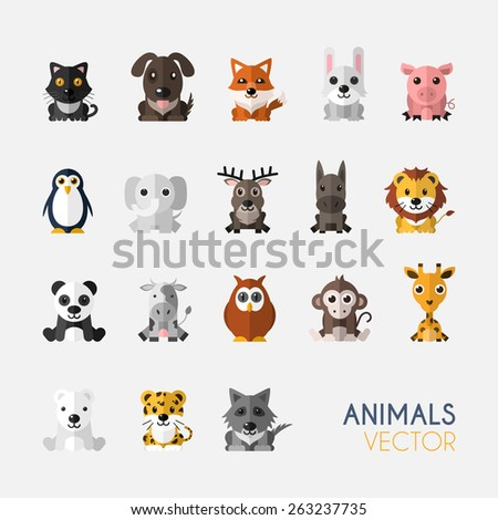 set of cute animals with flat