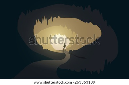 man at cave entrance vector