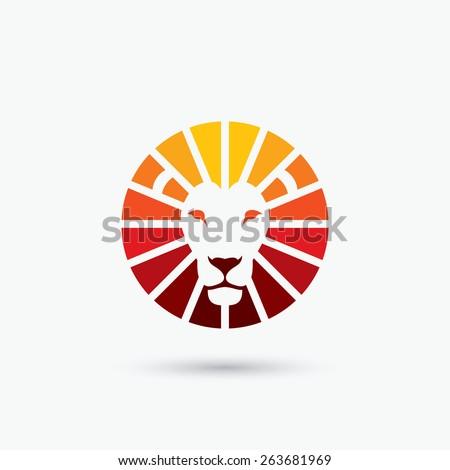circle shape lion sign   vector