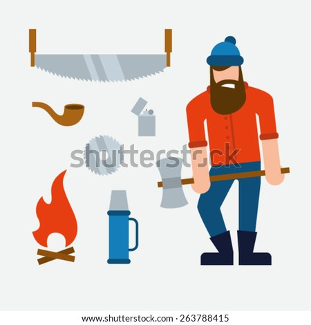 vector illustration woodcutter