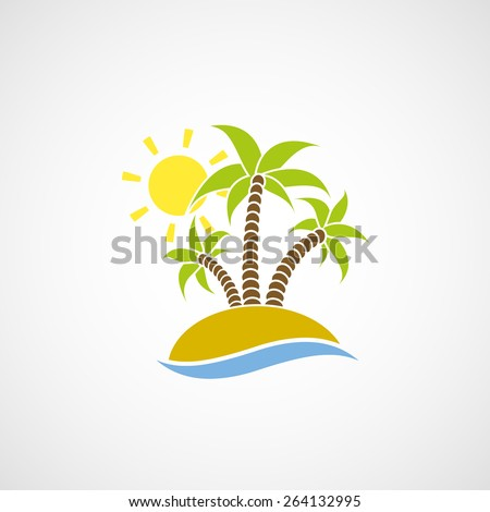 logo beach with palm trees  the