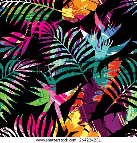 tropical plants silhouette