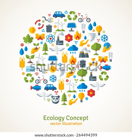 ecology flat icons arranged in
