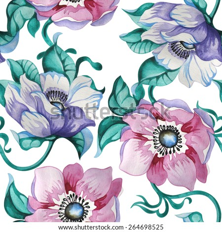 watercolor seamless floral