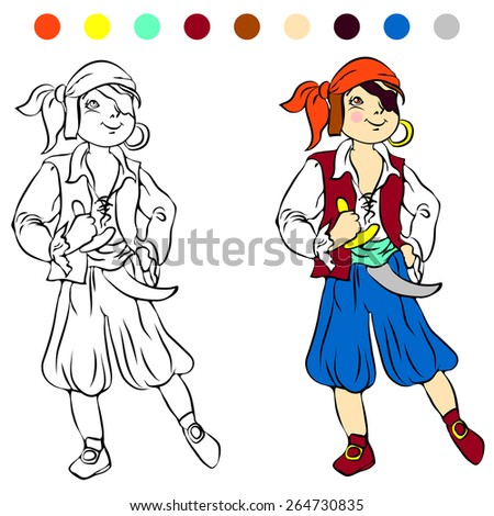 coloring book kids play pirate